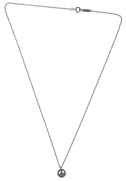 Tiffany & Co diamond peace pendant Necklace in 18k white gold 16""