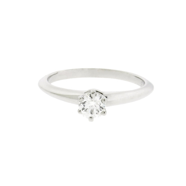Tiffany platinum .24 carat VVS2-E solitaire engagement ring size 6.25 with cert