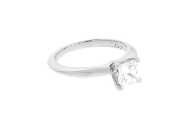 Tiffany platinum .53 ct princess cut diamond solitaire engagement ring size 3.5