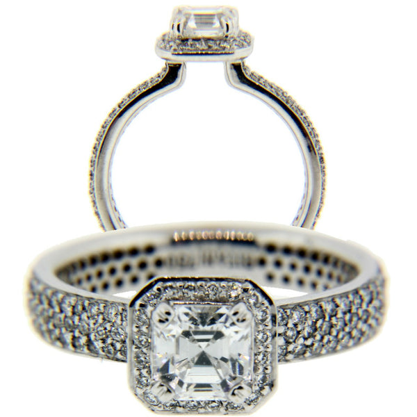 Ritani .64ct pave diamond engagement ring in 18k white gold new fits .80ct squar