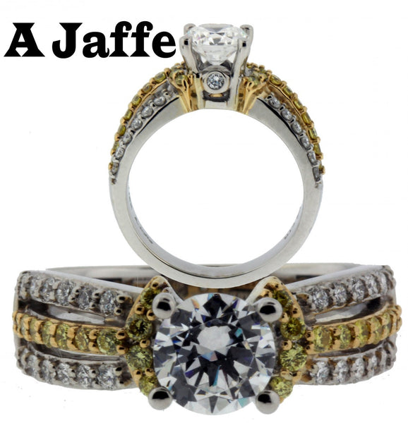 A Jaffe ME1288 18k white & yellow gold diamond engagement ring fits 1carat SZ 7