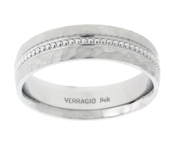 Verragio MV-6N02HM Men's wedding band in 14k white gold.