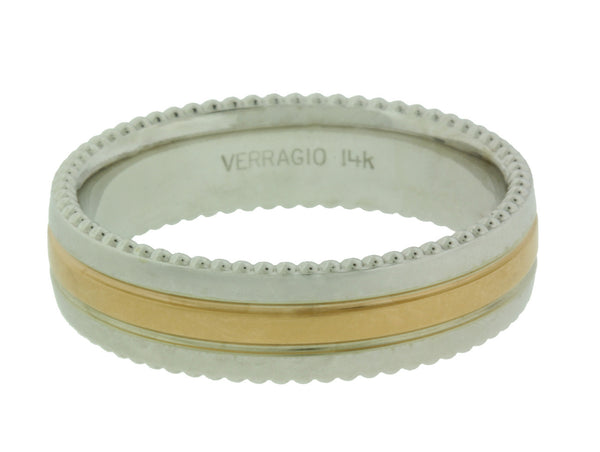 Verragio MV-6N03 Men's wedding band in 14k white & yellow gold.
