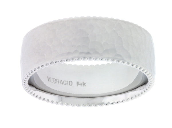 Verragio MV-8N02HM Men's hammer finish wedding band in 14k white gold.
