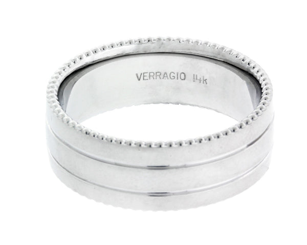 Verragio MV-8N03 Men's wedding band in 14k white gold.