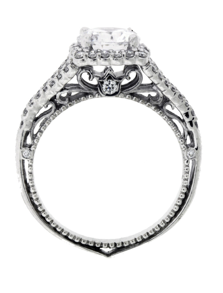 Verragio Venetian 5020CU 6.5mm 18k diamond halo engagement ring Size 6.25