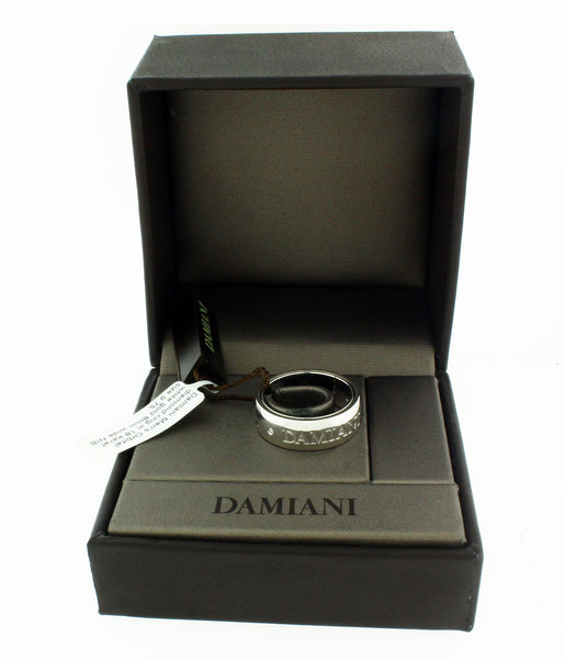 Damiani Men's orbital diamond ring in 18 karat white gold 8mm wide, size 7
