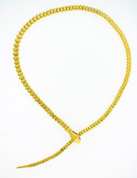 "TIFFANY & Co ELSA PERETTI 18k yellow gold Snake necklace 19.5"" Very rare"