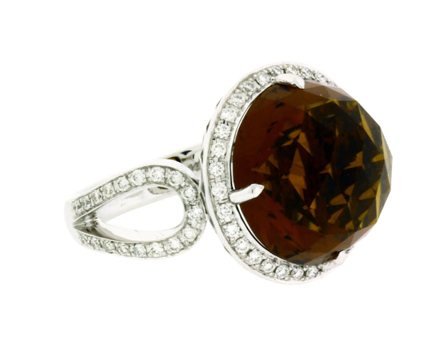 Zeghani by Simon G .50CT Coniac citrine & diamond ring in 14k white gold size 6.75