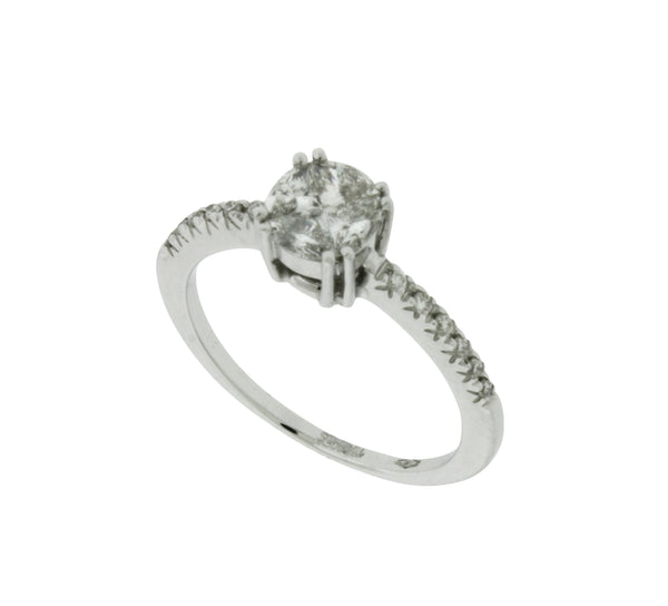 Zoccai Ladies illusion set diamond engagement / promise ring in 18k white gold