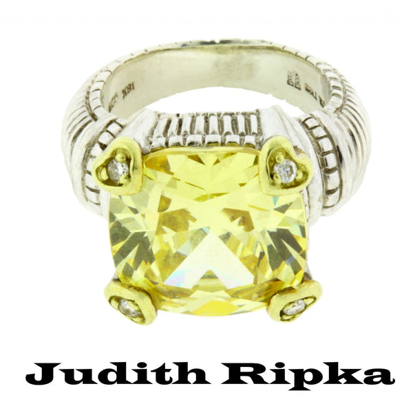 Judith Ripka 18K gold and Sterling silver diamond & canary crystal ring Size 4