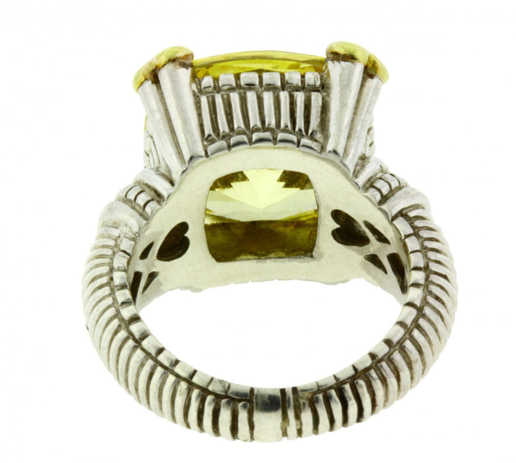 ab178c8c77876 Judith Ripka 18K gold and Sterling silver diamond & canary crystal ring  Size 4