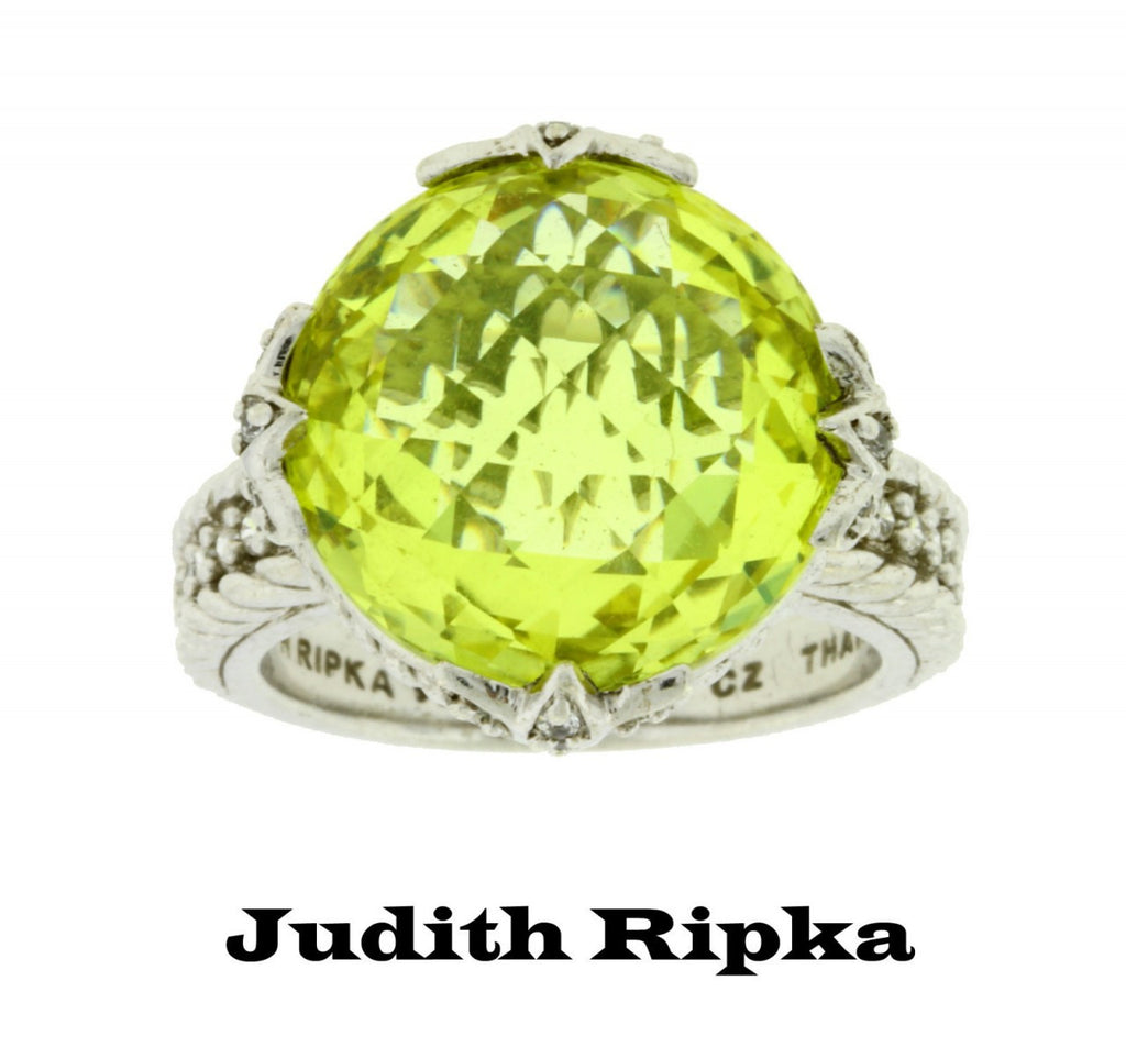 Judith Ripka canary Crystal & CZ ring in Sterling silver size 8