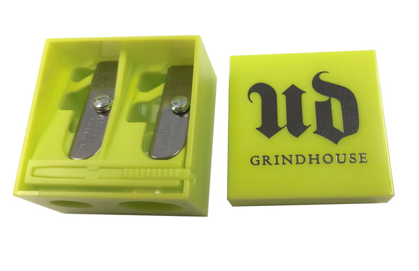 New Urban Decay Grind House Sharpen Double Barrel Sharpener yellow unbox