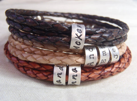 Custom Triple wrapped braided leather bracelet with personalized  sterling silver name charms - Drake Designs Jewelry