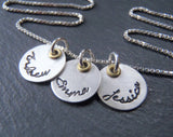 Mom necklace with kids names. Mixed metal Sterling silver with golden brass. - Drake Designs Jewelry