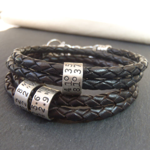 Coordinates Bracelet for men or women latitude longitude GPS jewelry