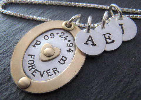 Children's initial mom necklace with meaning personalized mixed metals - Drake Designs Jewelry