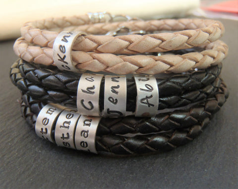 Braided leather bracelet personalized with names, dates or words.  4mm double wrapped bracelet with sterling silver charms for women or men - Drake Designs Jewelry