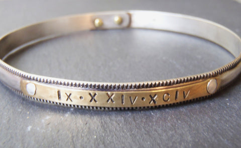 Personalized sterling silver milgrain bangle bracelet with Roman numerals or names - Drake Designs Jewelry