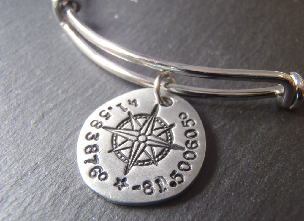 GPS coordinate bangle bracelet for her - womens's personalized compass jewelry - Drake Designs Jewelry