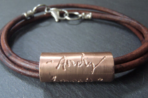 Leather handwriting bracelet. personalized with handwriting or signature engraved - Drake Designs Jewelry