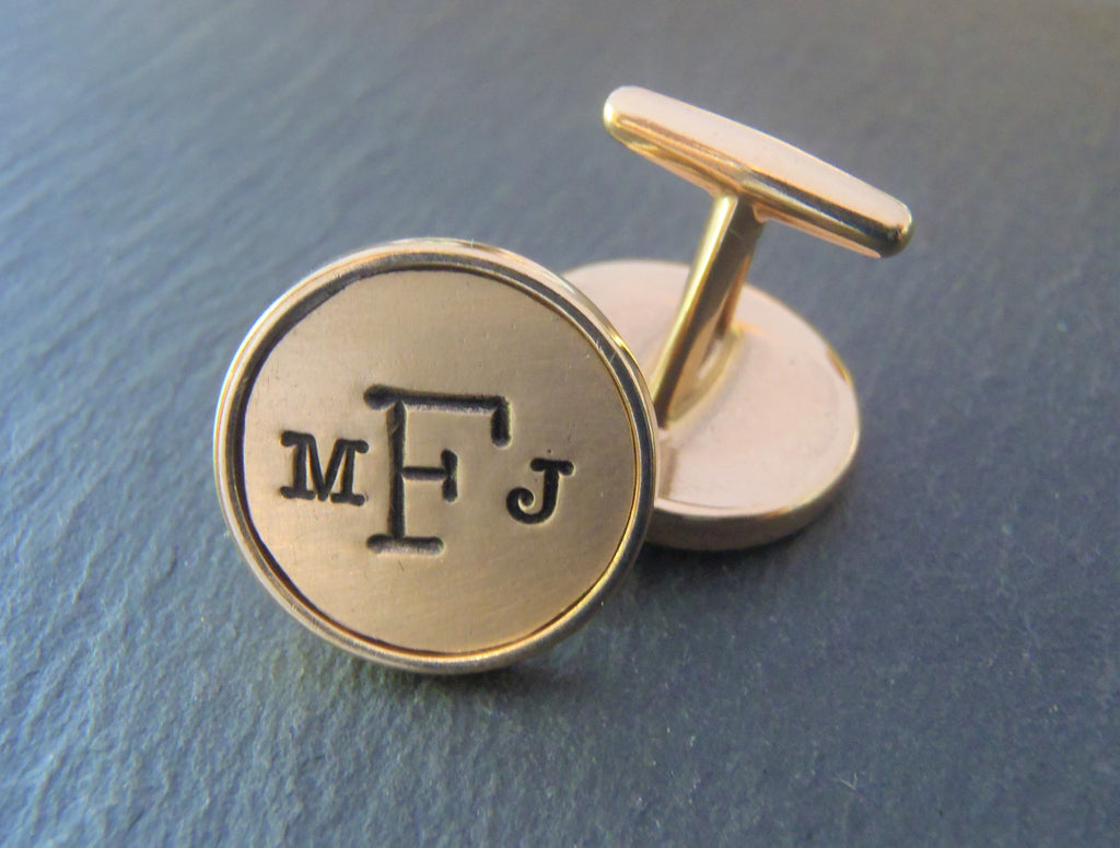 Bronze cufflinks personalized with monogram. 8th Anniversary gift - Drake Designs Jewelry