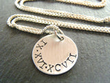 sterling silver Roman Numeral Necklace personalized anniversary gift for her - Drake Designs Jewelry