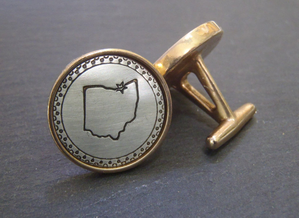 State Cufflinks Personalized with city location - Drake Designs Jewelry