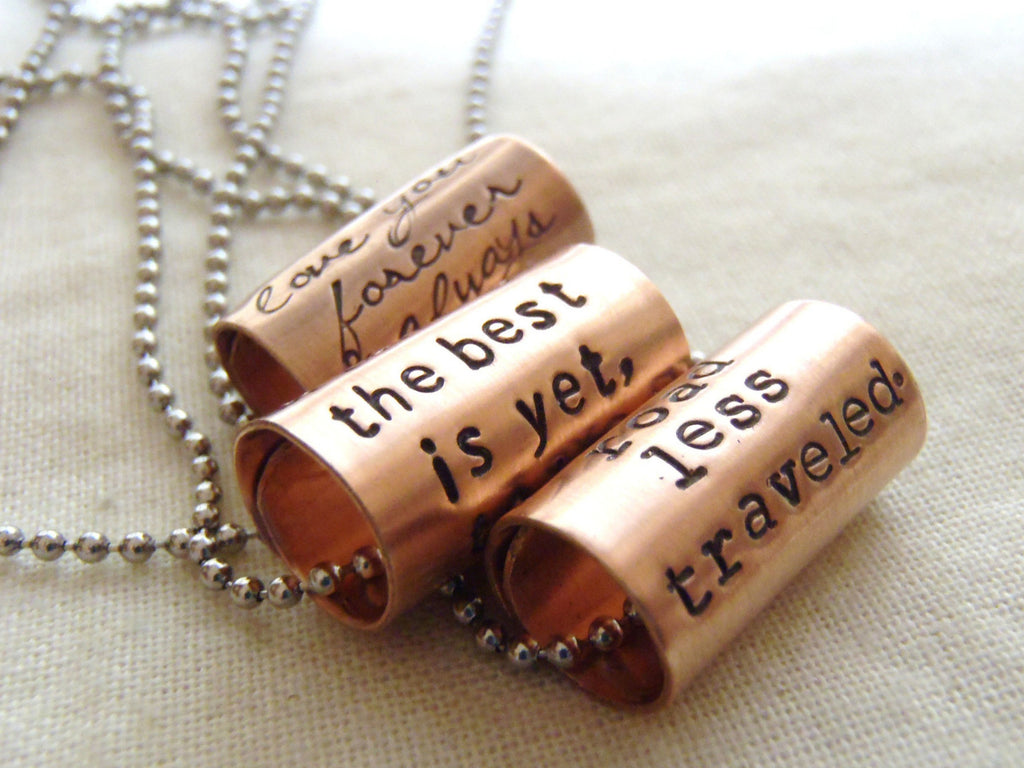Personalized necklace with custom text or quote - inspirational jewelry - Drake Designs Jewelry