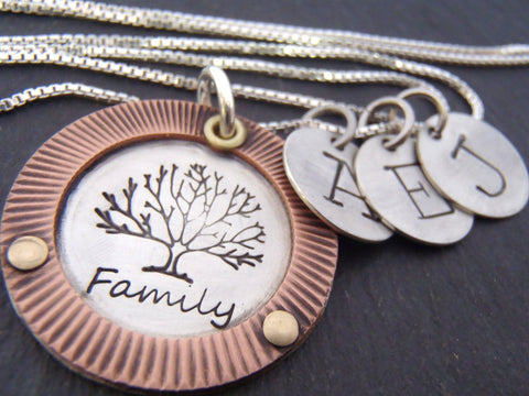 Mixed metal family tree necklace personalized with custom kids initials - Drake Designs Jewelry