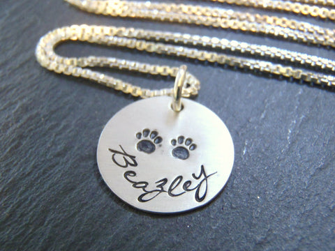 paw print dog mom necklace personalized - sterling silver - Drake Designs Jewelry