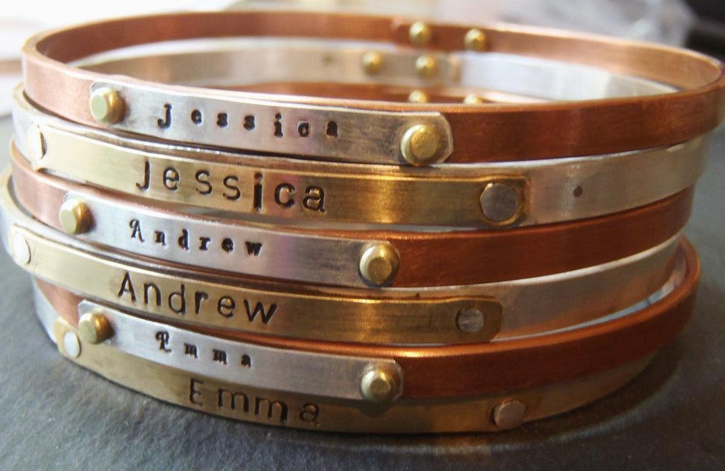 personalized bangle bracelet - stackable mixed metal mom bracelets - Drake Designs Jewelry