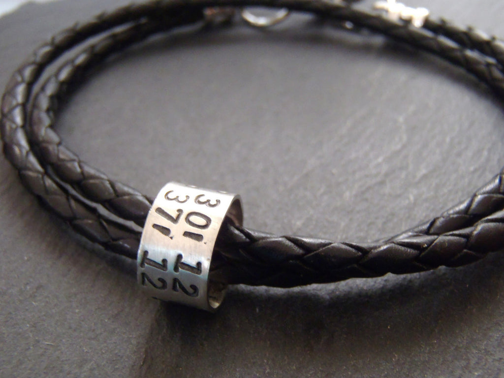 chocolate customised brown grid longitude bracelet latitude tremolo coordinates products leather charm