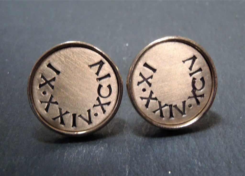 Eighth anniversary gift for men personalized cufflinks with date in Roman Numerals - Drake Designs Jewelry