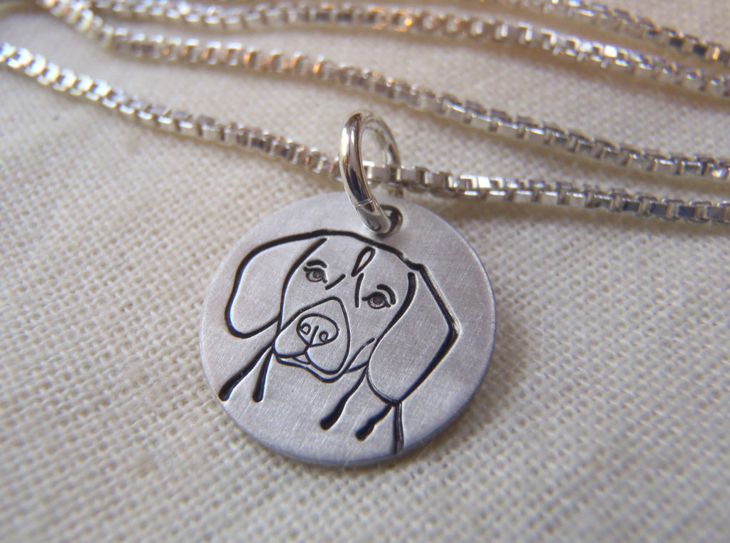 Beagle sterling silver necklace. dog lover gift beagle breed.  Drake designs jewelry
