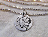 Boxer necklace hand crafted in sterling silver. Drake designs jewelry