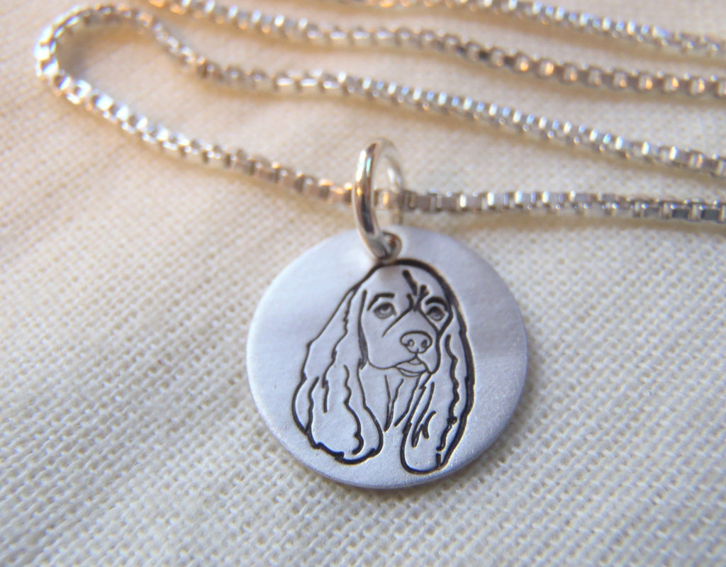 Cocker Spaniel necklace in sterling silver.  Cocker Spaniel gift jewelry.  Drake Designs Jewelry