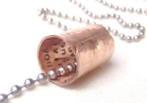Personalized Secret Message Necklace in rustic copper - 7th anniversary gift - Drake Designs Jewelry