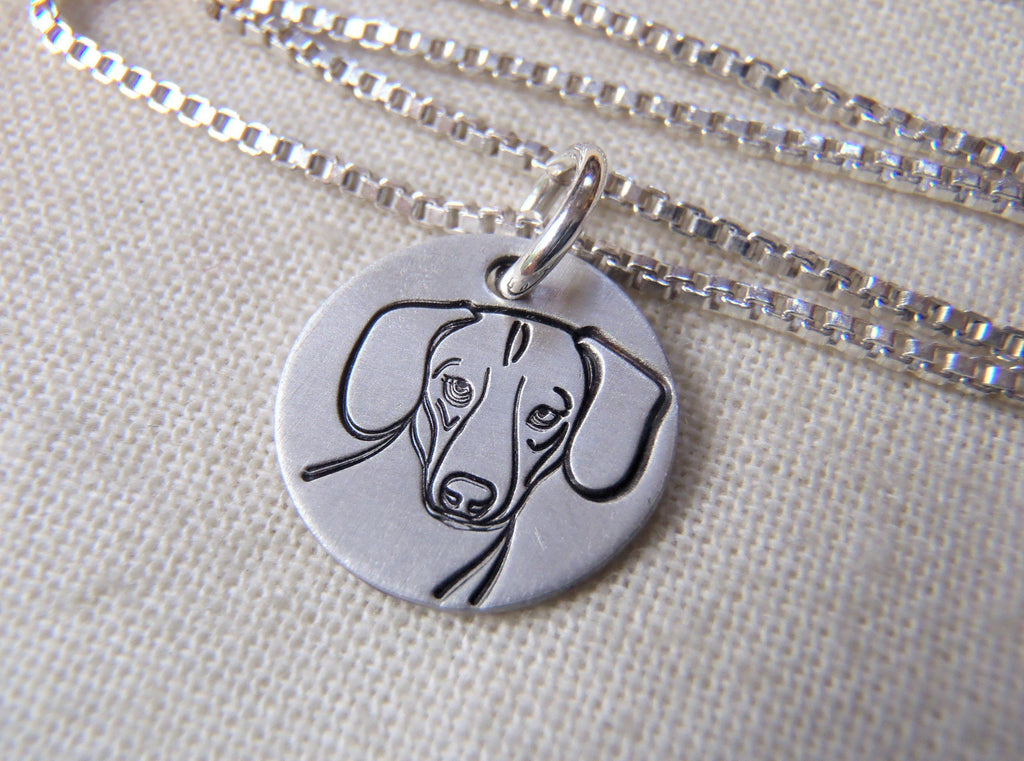 Daschund dog necklace in hand crafted sterling silver. drake designs jewelry