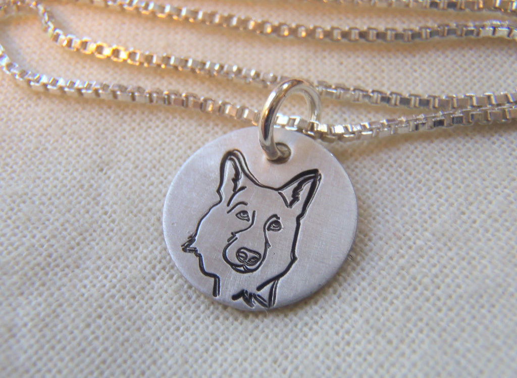 German Shepherd necklace hand stamped on sterling silver. Drake designs jewelry
