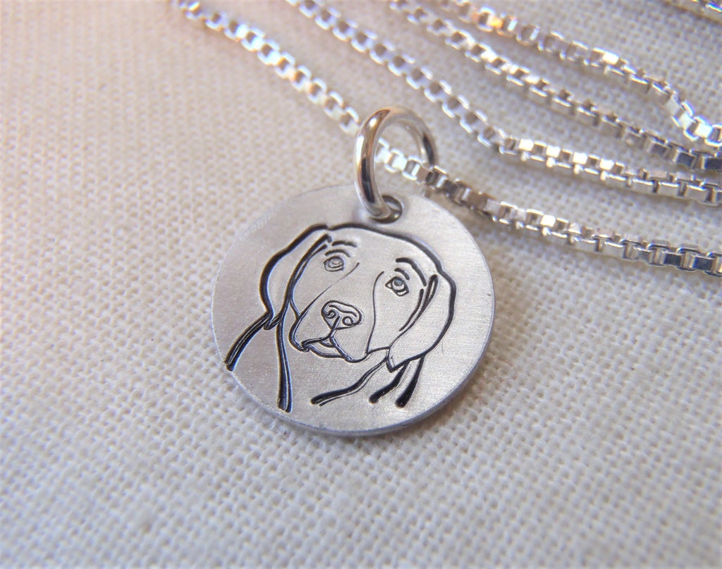 Hound dog necklace hand crafted in sterling silver by Drake Designs Jewelry