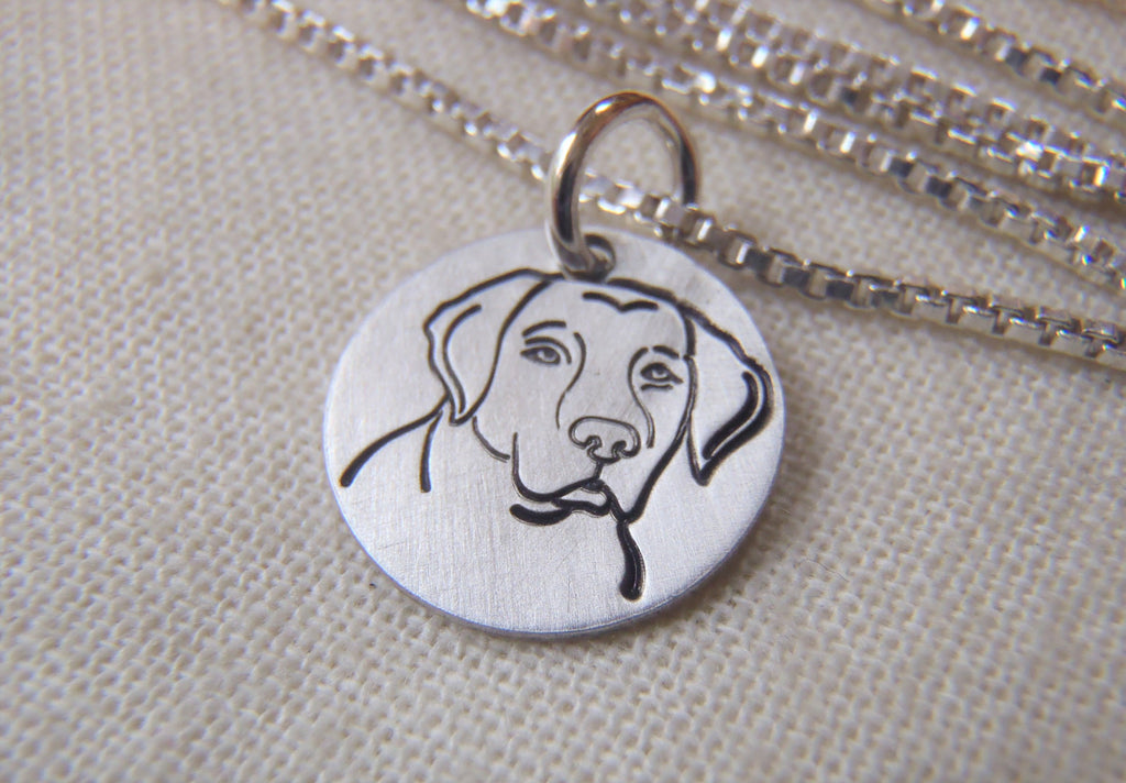 Labrador dog necklace in sterling silver hand crafted by Drake Designs Jewelry