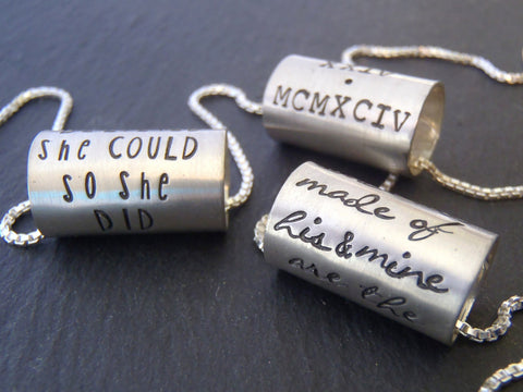 Inspirational custom quote or Personalized meaningful message - hand stamped sterling silver necklace - Drake Designs Jewelry