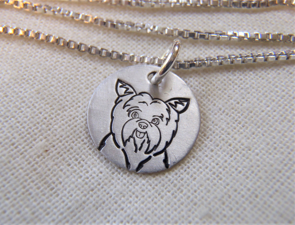 yorkshire terrier sterling silver necklace - yorkie gift - drake designs jewelry