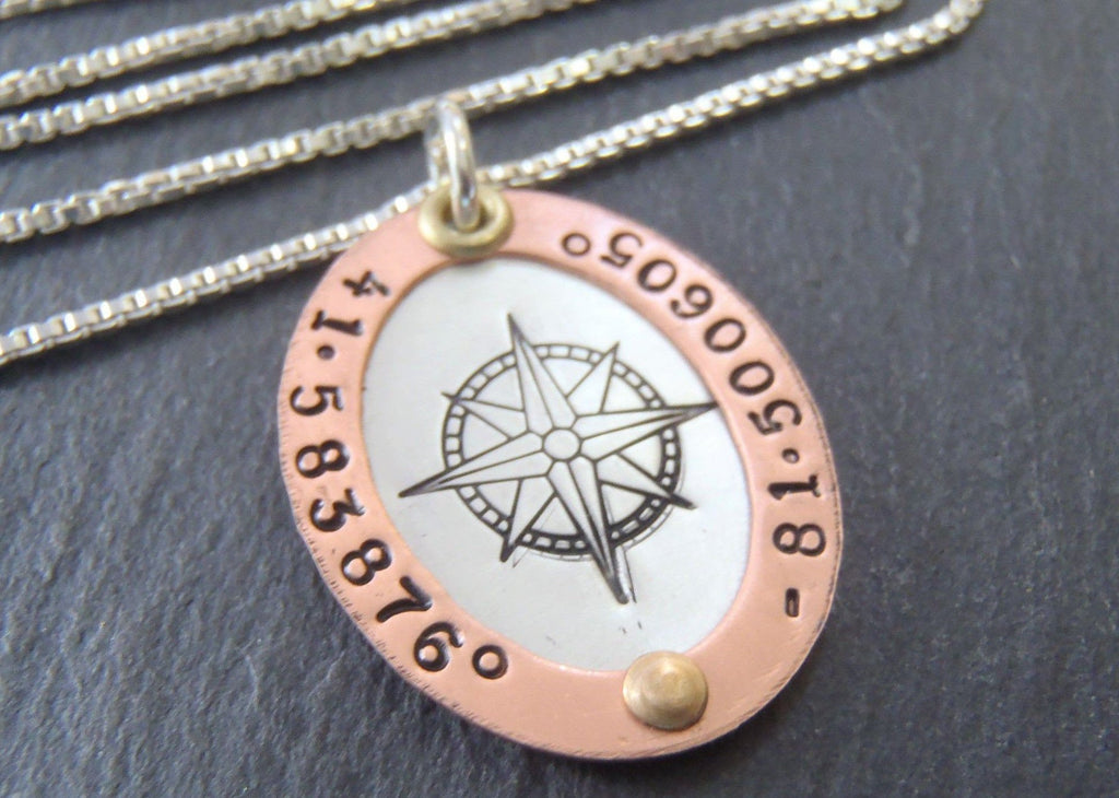 GPS Coordinates necklace rose gold and silver latitude longitude jewelry - Drake Designs Jewelry