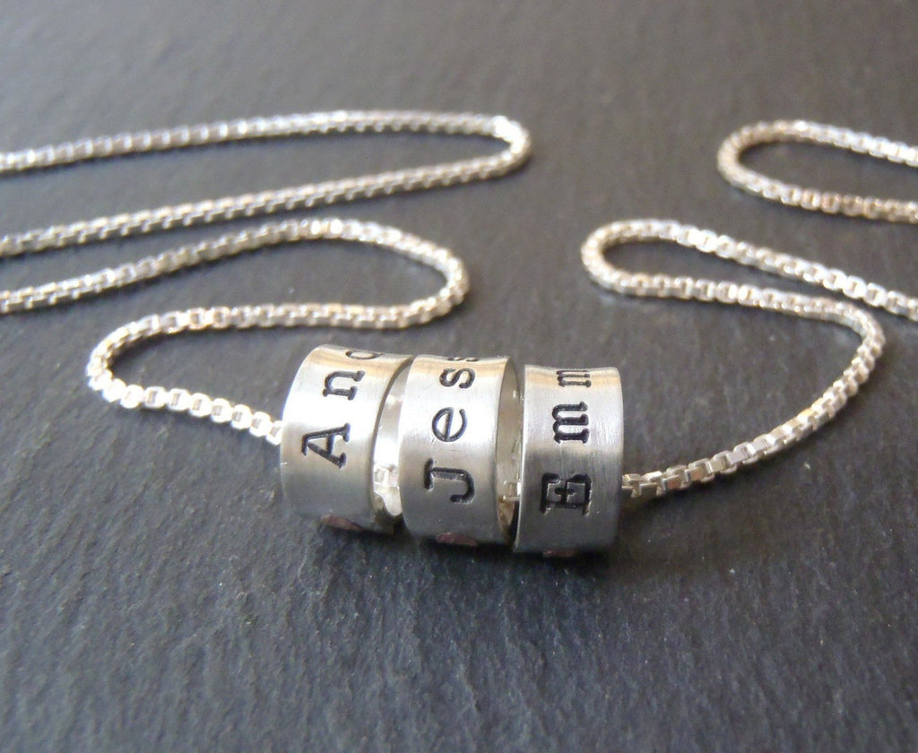 Mother's necklace with children's names on Small sterling silver ring charms - Drake Designs Jewelry