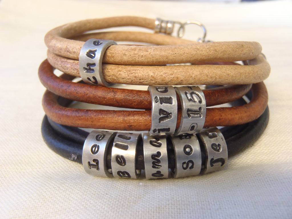 Personalized name charms on smooth leather bracelet - charms cannot be added and size cannot be modified after made! - Drake Designs Jewelry