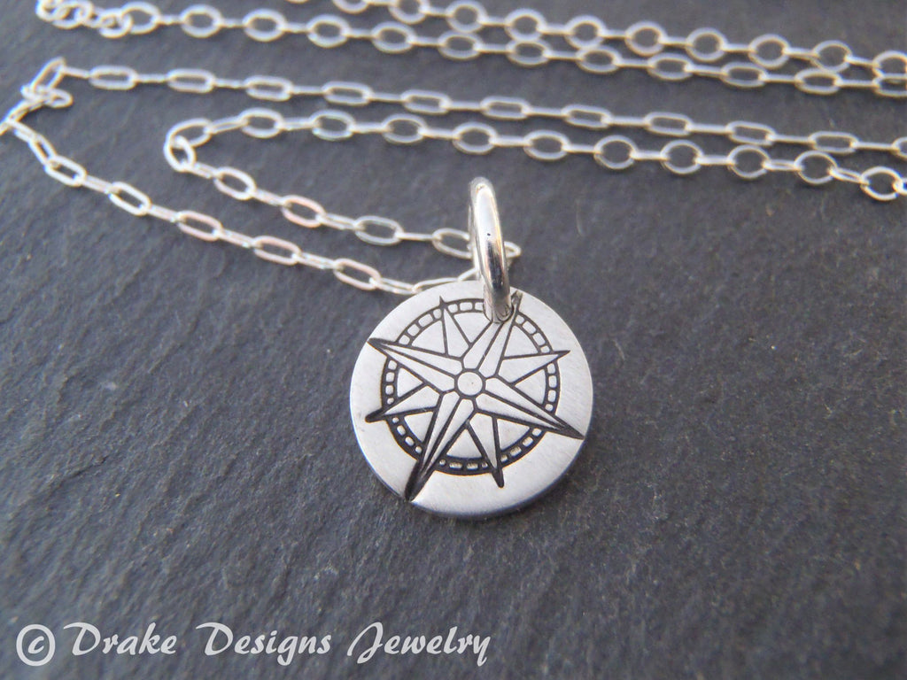 tiny sterling silver compass necklace inspirational jewelry - Drake Designs Jewelry