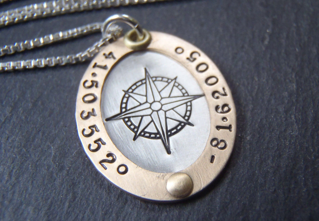 Gold and silver personalized compass necklace with coordinates - Drake Designs Jewelry